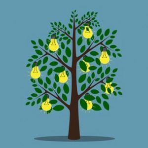 Glowing lightbulbs hanging on tree with green leaves, creativity, insight, inspiration concept, EPS 10 vector illustration, no transparency
