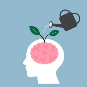watering brain plant with watering can, creative idea concept. vector illustration